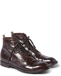 Bottes habillées en cuir marron foncé Officine Creative