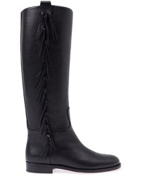 Bottes hauteur genou en cuir à franges noires Valentino Garavani