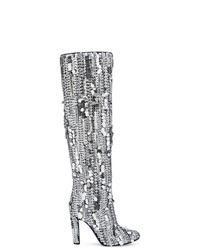 Bottes hauteur genou en cuir argentées Alberta Ferretti
