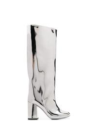 Bottes hauteur genou en cuir argentées MM6 MAISON MARGIELA