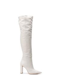 Bottes hauteur genou en cuir blanches Alexandre Birman