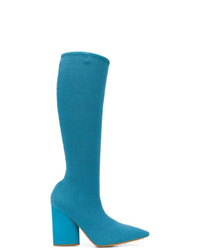 Bottes hauteur genou en cuir bleu clair