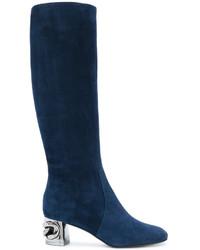 Bottes hauteur genou en cuir bleu marine Casadei