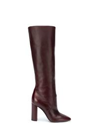 Bottes hauteur genou en cuir bordeaux Saint Laurent