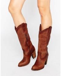 Bottes hauteur genou en cuir brunes Frye