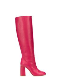 Bottes hauteur genou en cuir fuchsia RED Valentino
