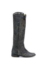 Bottes hauteur genou en cuir gris foncé Golden Goose Deluxe Brand