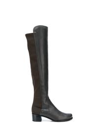 Bottes hauteur genou en cuir gris foncé Stuart Weitzman