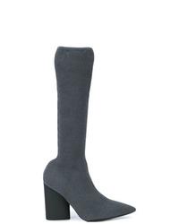 Bottes hauteur genou en cuir gris foncé Yeezy