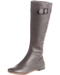 Bottes hauteur genou en cuir grises