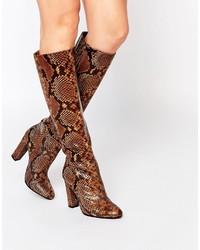 Bottes hauteur genou en cuir imprimées serpent tabac