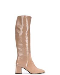 Bottes hauteur genou en cuir marron clair Casadei