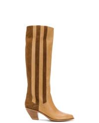 Bottes hauteur genou en cuir marron clair Golden Goose Deluxe Brand