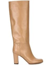 Bottes hauteur genou en cuir marron clair L'Autre Chose