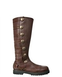 Bottes hauteur genou en cuir marron foncé