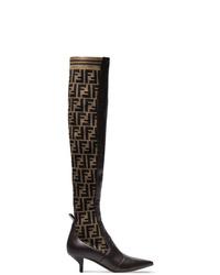 Bottes hauteur genou en cuir marron foncé Fendi