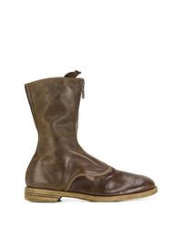 Bottes hauteur genou en cuir marron foncé Guidi