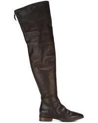 Bottes hauteur genou en cuir marron foncé Marsèll