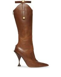 Bottes hauteur genou en cuir marron Burberry