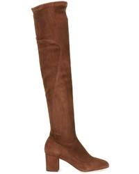 Bottes hauteur genou en cuir marron Dolce & Gabbana