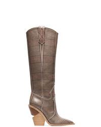 Bottes hauteur genou en cuir marron Fendi