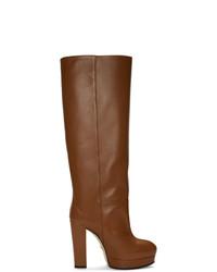 Bottes hauteur genou en cuir marron Gucci