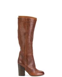 Bottes hauteur genou en cuir marron Pantanetti