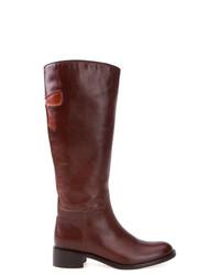 Bottes hauteur genou en cuir marron Sarah Chofakian