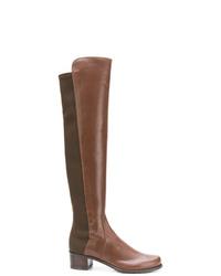 Bottes hauteur genou en cuir marron Stuart Weitzman
