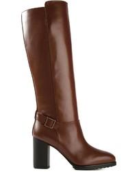 Bottes hauteur genou en cuir marron Tod's