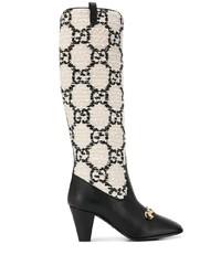 Bottes hauteur genou en cuir noires et blanches Gucci