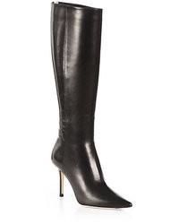 Bottes hauteur genou en cuir noires