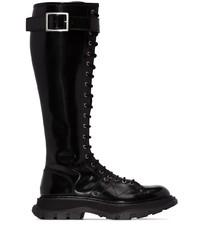 Bottes hauteur genou en cuir noires Alexander McQueen