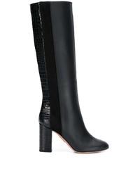 Bottes hauteur genou en cuir noires Aquazzura