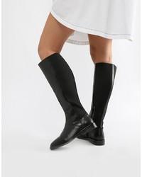 Bottes hauteur genou en cuir noires ASOS DESIGN
