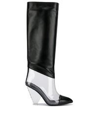 Bottes hauteur genou en cuir noires Balmain