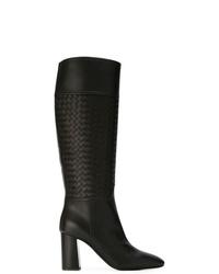 Bottes hauteur genou en cuir noires Bottega Veneta