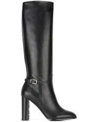 Bottes hauteur genou en cuir noires Burberry