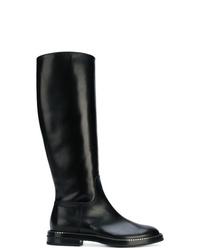 Bottes hauteur genou en cuir noires Casadei