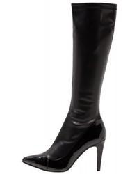 Bottes hauteur genou en cuir noires Divine Factory