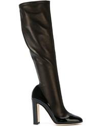 Bottes hauteur genou en cuir noires Dolce & Gabbana