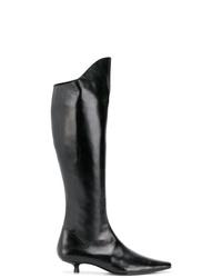 Bottes hauteur genou en cuir noires Dorateymur