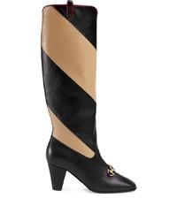 Bottes hauteur genou en cuir noires Gucci
