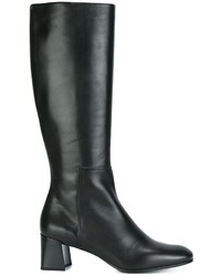 Bottes hauteur genou en cuir noires Jil Sander