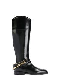 Bottes hauteur genou en cuir noires Lanvin