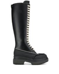 Bottes hauteur genou en cuir noires MM6 MAISON MARGIELA