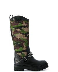 Bottes hauteur genou en cuir noires Moschino