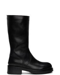 Bottes hauteur genou en cuir noires Raf Simons