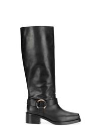 Bottes hauteur genou en cuir noires RED Valentino