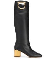 Bottes hauteur genou en cuir noires Salvatore Ferragamo